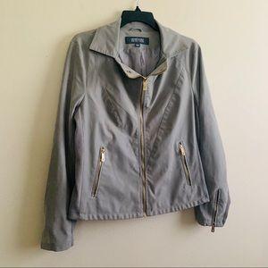 Kenneth Cole Reaction Faux-Leather Zip Jacket Sz L